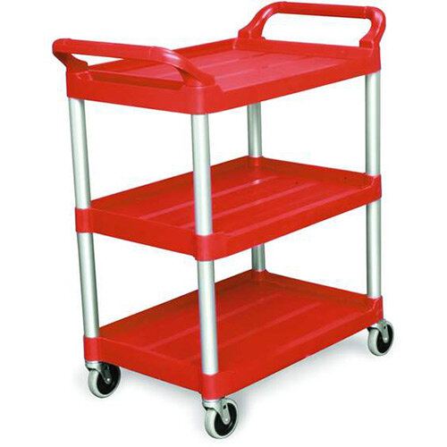 Rubbermaid Light Duty Utility Cart 3 Shelf Service Cart Red