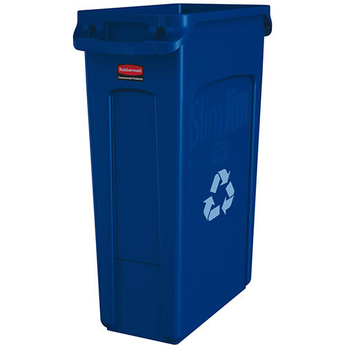 Rubbermaid Slim Jim 87L Waste Container With Venting Channels Blue