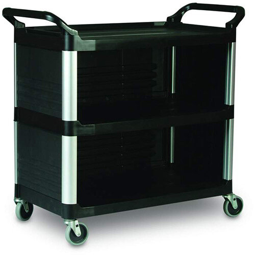 Rubbermaid X-Tra Service Cart With 3 Closed Sides Black