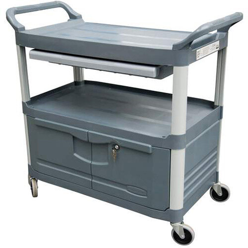 Rubbermaid X-Tra Service Cart with Lockable Doors and Sliding Drawer Grey