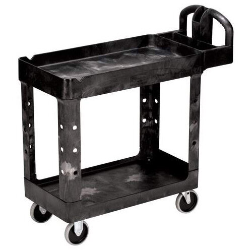 Rubbermaid Small Lipped Shelf Heavy Utility Cart 99x43.8x85cm Black