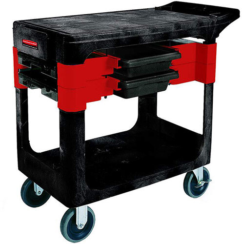 Rubbermaid Trade - Service Cart with 2 Boxes and 4 Bins Black