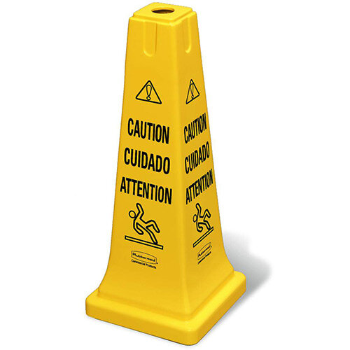 Rubbermaid Safety Cone With Multilingual Caution Imprint &Wet Floor Symbol Yellow