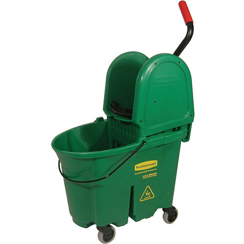 Rubbermaid WaveBrake Down Press Combo High Performance Mopping System Mobile Bucket Green