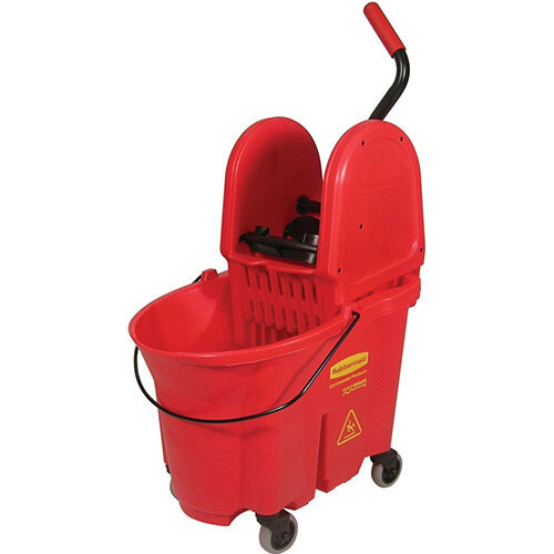 Rubbermaid WaveBrake Down Press Combo High Performance Mopping System Mobile Bucket Red