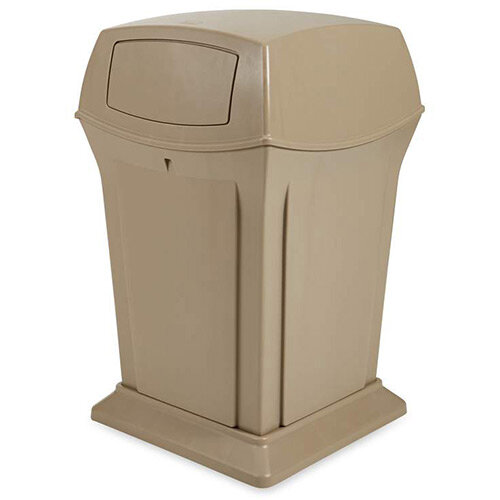 Rubbermaid 170.3L Square Ranger Trash Container with 2 Doors Beige