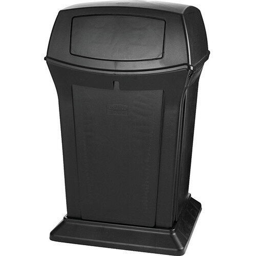 Rubbermaid 170.3L Square Ranger Trash Container with 2 Doors Black