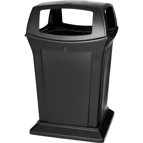 Rubbermaid 170.3L Square Ranger Trash Container with 4 Top Openings Black