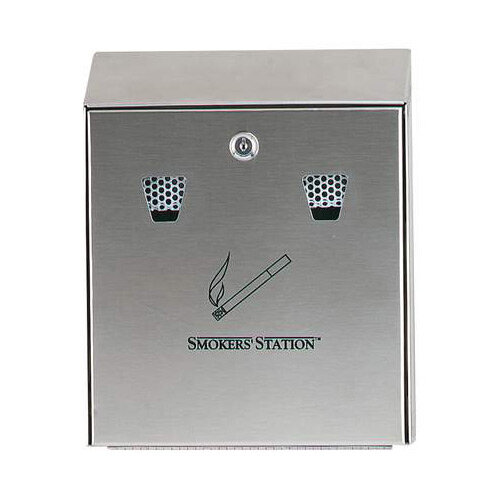 Rubbermaid Wall Mountable Smokers' Station Ash &Cigarette Bin Stainless Steel