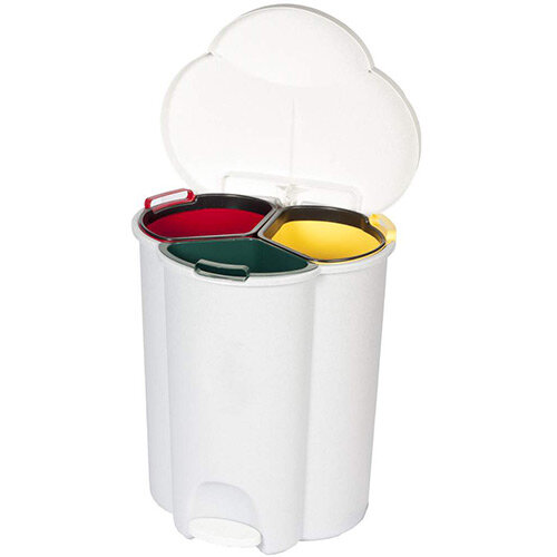Rubbermaid Trio Pedal Bin With 3 Recycling Compartments 2 x 17L &1 x 6L