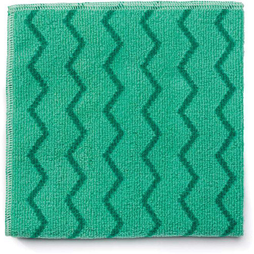 Rubbermaid HYGEN Microfiber Cloth With Zig-zag Scrubbing Strips Green
