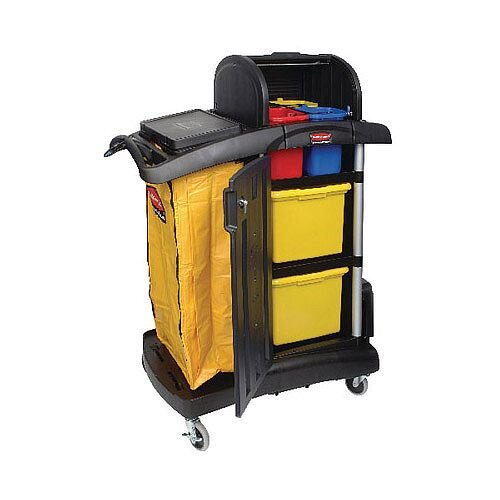 Rubbermaid Cleaning Trolley Secure Microfibre Cart With Hood Assembled Black R052002
