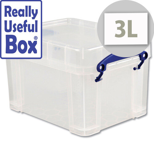 Storage Box Plastic Lightweight Robust Stackable 3 litre Clear Really Useful