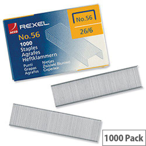 Rexel Staples No56 6mm Pk1000 06131