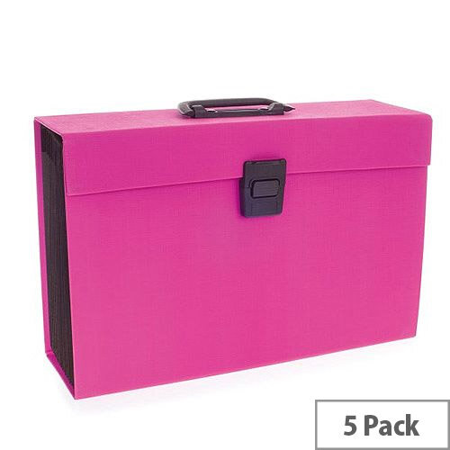 Rexel JOY Expanding Box File Pretty Pink  Pack of 5 - Easily Carry Your Files With 19 Compartments, Secure Latch Closure &Carry Handle. Wipe Clean Linen Texture. Ideal For Use In Schools, Colleges, Offices, Homes &More.