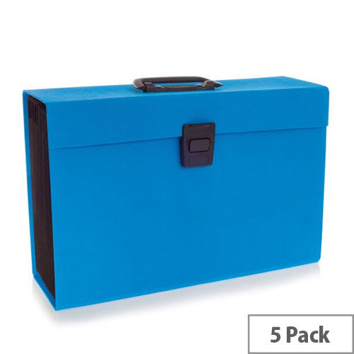 Rexel JOY Expanding Box File Blissful Blue - Easily Carry Your Files With 19 Compartments, Secure Latch Closure &Carry Handle. Wipe Clean Linen Texture. Ideal For Use In Schools, Colleges, Offices, Homes &More.