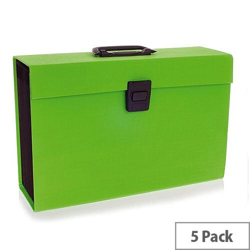 Rexel Joy Expanding Box File Lovely Lime. Easily Carry Your Files With 19 Compartments, Secure Latch Closure &Carry Handle. Wipe Clean Linen Texture. Ideal For Use In Schools, Colleges, Offices, Homes &More. Pack of 5