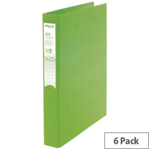 Rexel Joy A4 Lime Ring Binder 6 Pack 2104008