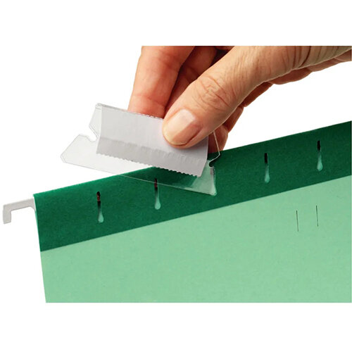 Rexel 50mm Suspension File Tabs with Labels Clear Pack of 25 2115596