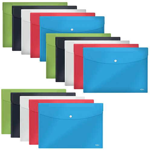 Rexel Choices Popper Wallet Foolscap Assorted Pack of 5 3 For The Price of 2 RX810221