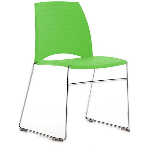 Frovi SAND Canteen Chair With Chrome Sled Base H825xW570xD525mm 460mm Seat Height Fresh Green