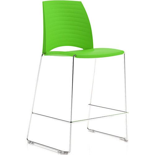 Frovi SAND Canteen Stool With Chrome Sled Base H1025xW570xD535mm 760mm Seat Height Fresh Green