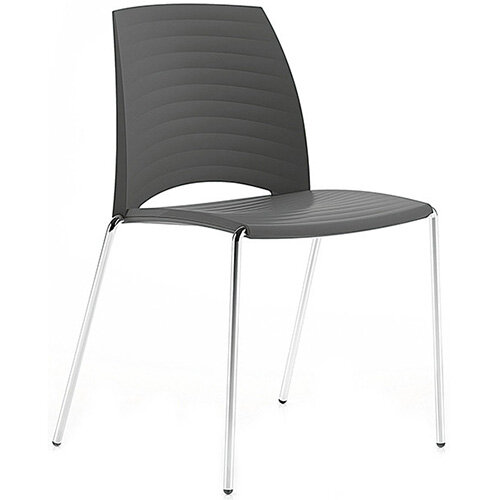 Frovi SAND Canteen Chair With Chrome 4 Leg Base H825xW570xD525mm 460mm Seat Height Anthracite
