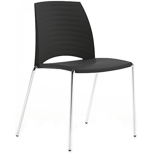 Frovi SAND Canteen Chair With Chrome 4 Leg Base H825xW570xD525mm 460mm Seat Height Black