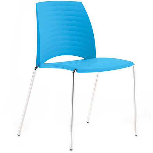 Frovi SAND Canteen Chair With Chrome 4 Leg Base H825xW570xD525mm 460mm Seat Height Cyan