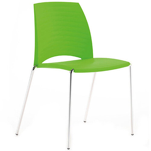 Frovi SAND Canteen Chair With Chrome 4 Leg Base H825xW570xD525mm 460mm Seat Height Fresh Green