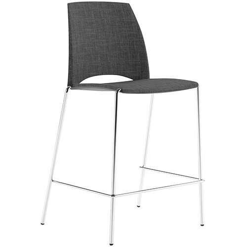 Frovi SAND Upholstered Canteen Stool With Chrome 4 Leg Base H1025xW570xD535mm 760mm Seat Height - Fabric Band H