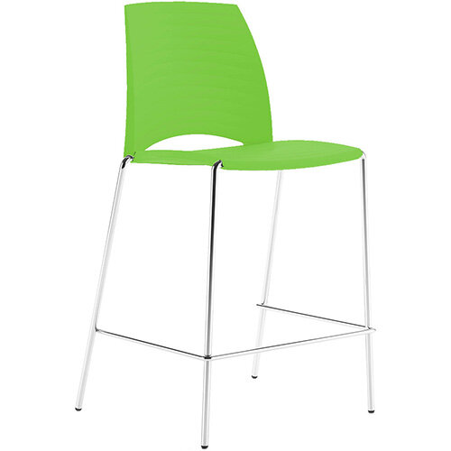 Frovi SAND Canteen Stool With Chrome 4 Leg Base H1025xW570xD535mm 760mm Seat Height Fresh Green