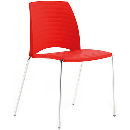 Frovi SAND Canteen Chair With Chrome 4 Leg Base H825xW570xD525mm 460mm Seat Height Bright Red
