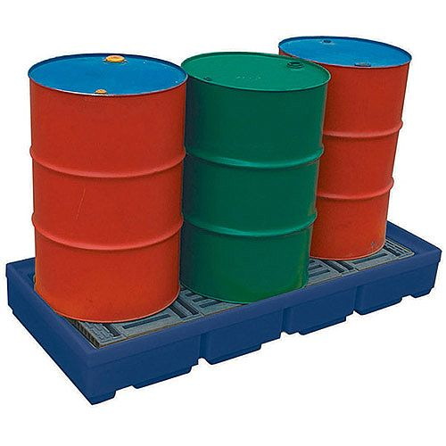 Pallet Sump for up to 2 Drums Chemical Resistant HxWxL 330x820x1220mm Blue 321622