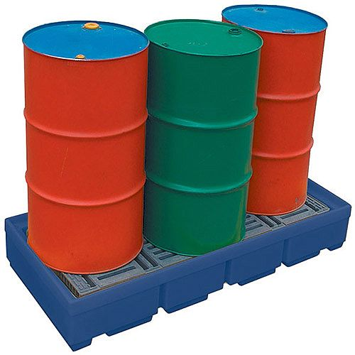 Pallet Sump for up to 4 Drums Chemical Resistant 300x330x13000mm HxWxL Blue 321623