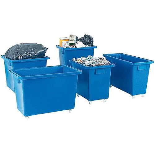 Bottle Skip 625X570x570mm 4x50mm Swivel Blue