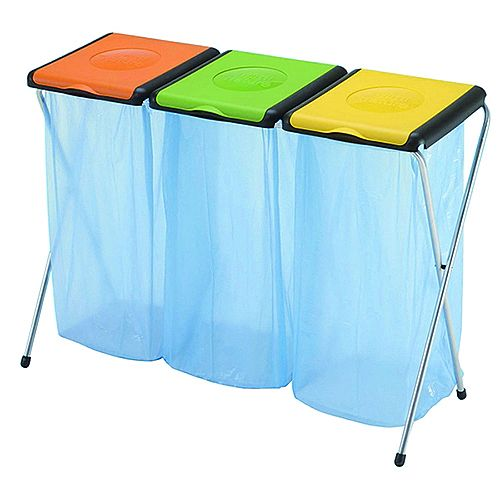 Recycling Bin Sack Holder 60 Litres - 3-Compartment Orange/Green/Yellow - Lightweight Unit - Space Saving - Holds recycling bags for quick and easy disposal