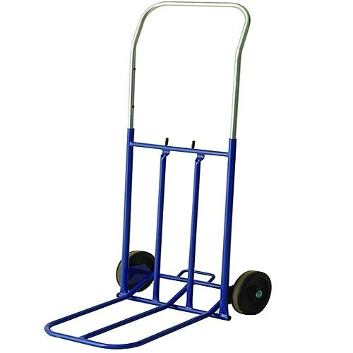 General Duty Lightweight Hand Truck Blue With Rubber Wheels Capacity 100Kg Folding Foot Iron 374670