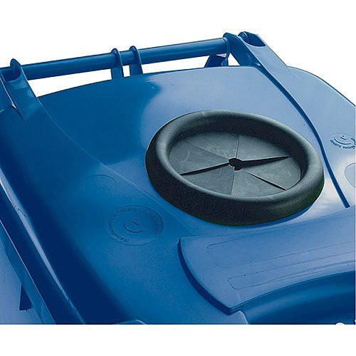 Wheelie Bin 120 Litre with Bottle Bank Aperture and Lid Lock Blue 124551
