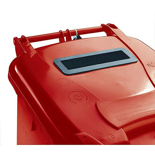 Confidential Waste Wheelie Bin 360 Litre with Slot and Lid Lock Red 377910