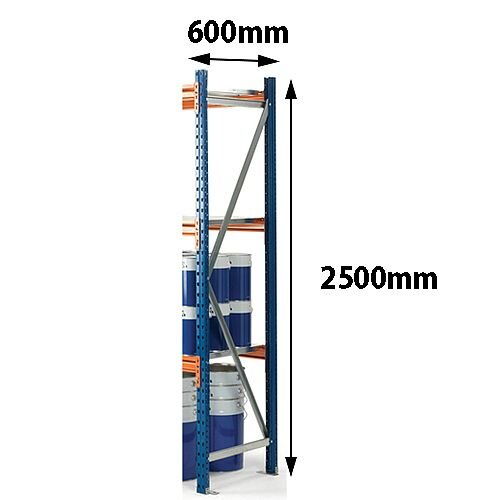 Super Heavy Duty Wide Span Shelving Frame HxD 2500x600mm - Supplied Fully Built, Footplates Included