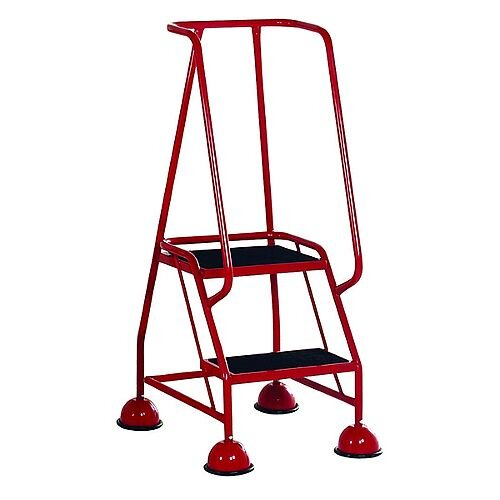 VFM Red Two Tread Mobile Steps Height 1.185m Capacity 125kg