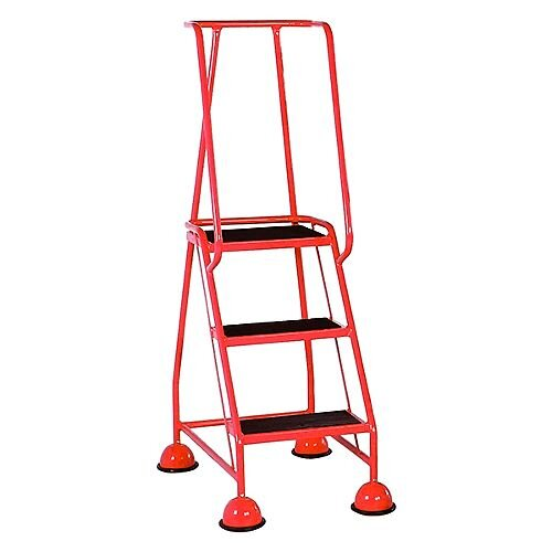 VFM Red Three Tread Mobile Steps Height 1.425m Capacity 125kg