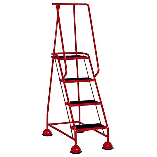 4 Rubber Tread Red Mobile Safety Steps With Handrail Height 1.68m Capacity 125kg