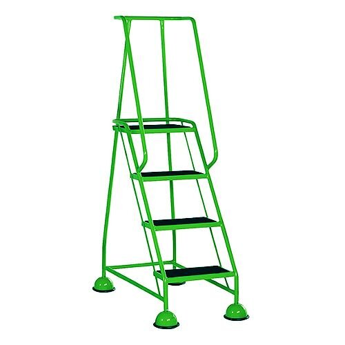 4 Rubber Tread Green Mobile Safety Steps With Handrail Height 1.68m Capacity 125kg