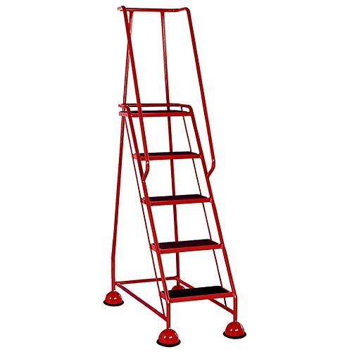 5 Rubber Tread Red Mobile Safety Steps With Handrail Height 1.94m Capacity 125kg