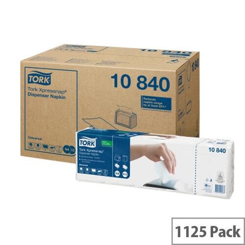 Tork Xpressnap 1 Ply Paper Napkins 4 Fold Tissue 130x130mm White Pack 1125