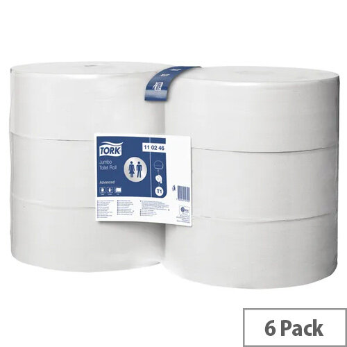 Tork T1 Dispenser Jumbo Toilet Paper Tissue Refill Rolls White 340m (Pack of 6) 110246