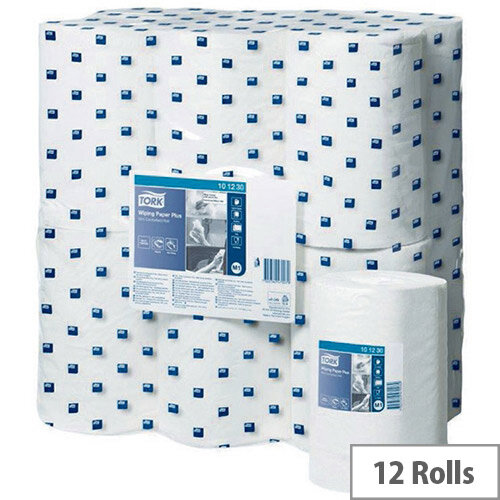 Tork White Wiping Plus Paper Mini Centrefeed 75m Rolls 2 Ply (Pack of 12) 101230