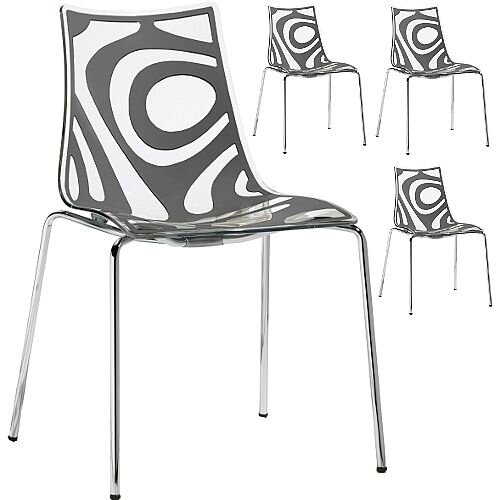 Wave Chrome Leg Canteen & Breakout Stacking Chair Translucent & Anthracite Set of 4